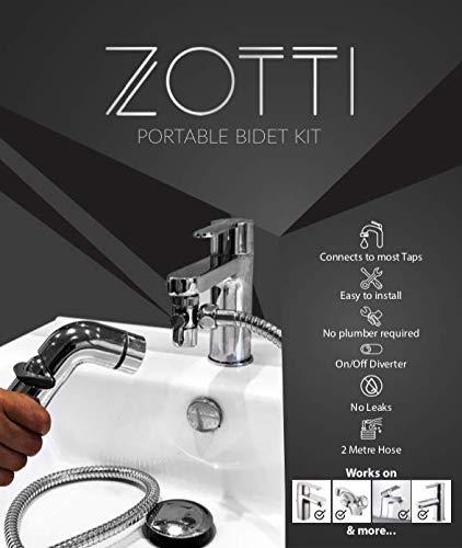 Zotti, spruzzatore portatile da viaggio per bidet, Shattaf, 2 m, deviatore a 2 vie, per trasformare il rubinetto in una doccia o bidet, si collega al miscelatore, kit doccia manuale, bidet