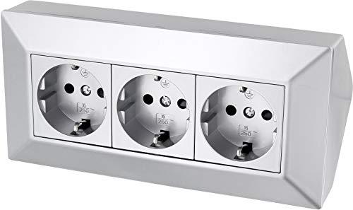 3-fach Aufbau Steckdosenleiste Ecksteckdose - 230V 16A 3600W - silber