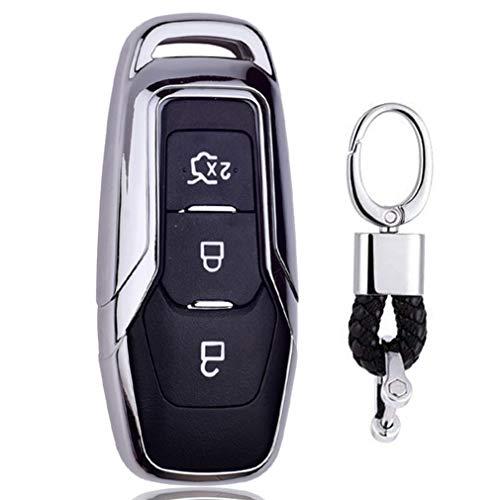 Silber Car Keyless Entry Key Cover Fall für Ford Mondeo Mustang Edge, weiches TPU Schutzhülle mit Schlüssel Kette