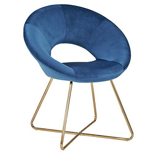Duhome Silla de Comedor diseño Retro con Brazos Silla tapizada Vintage sillón con Patas de Metallo 439D, Color:Azul Oscuro, Material:Terciopelo