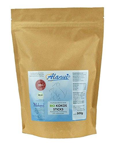 alanui Bio Kokos Sticks (kontrolliert biologischem Anbau), Einzelfuttermittel für Hunde, 1er Pack (1 x 500 g)