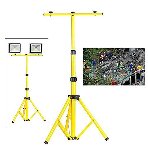 Trípode telescópico, foco LED, altura regulable, foco foco de acero, foco LED, foco de trabajo para 2 focos