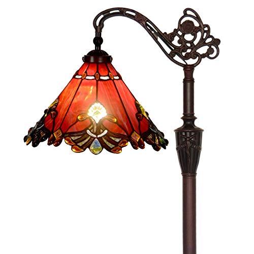 Bieye L30681 Barock Tiffany-Stil Glasmalerei Lesen Stehlampe mit 13 Zoll breiten Lampenschirm, Lichtrichtung ist einstellbar, 65 Zoll hoch, rot