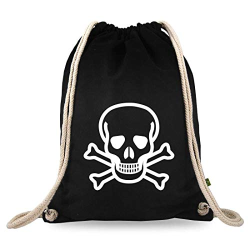 Gymtaselliebe® gymtas met motief – doodskop Skull – katoen zwart – sporttas – rugzak – stoffen tas – ca. 12 liter – 37 x 46 cm.
