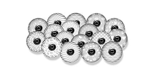 Hopofly - Pomos de cerámica de estilo vintage en color gris y blanco