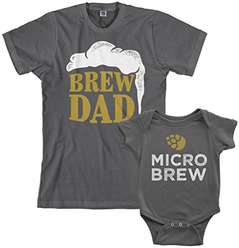 Threadrock Brew Dad & Micro Brew Infant Bodysuit & Men's T-Shirt Matching Set (Baby: 6M, Charcoal|Men's: L, Charcoal)