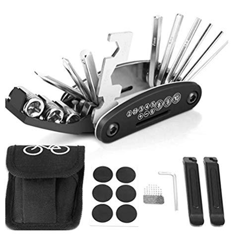 Ouskau Outil de Vélo Multi-tool 16 en 1 Outils pour Vélo Réparation Kit pour Voyage, Extérieur, Camping, à la Maison