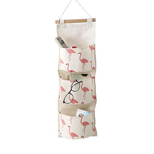 Addfun®Baumwolle Stoff Leinen Stoff Hängende Tasche,Wand montiert DREI Schichten Aufbewahrungstasche mit DREI Taschen(Weiß)