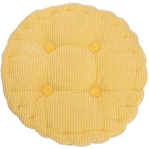 RAQ dik, zacht katoen, wasbaar, zitkussen, 36 x 38 cm, ronde vorm, plaidkussen, stoelkussen, kleurrijk tapijt voor thuis 1 Geel