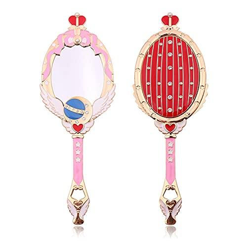 WANGYA Miroir Anime Sailor Moon Métal Ovale Main Tenu Making Miroir Mirror Mesdames Girl Crown Miroir Beauty Dresser Rouge Blue Maquillage Miroir avec Cristal Miroir Maquillage (Color : Red)