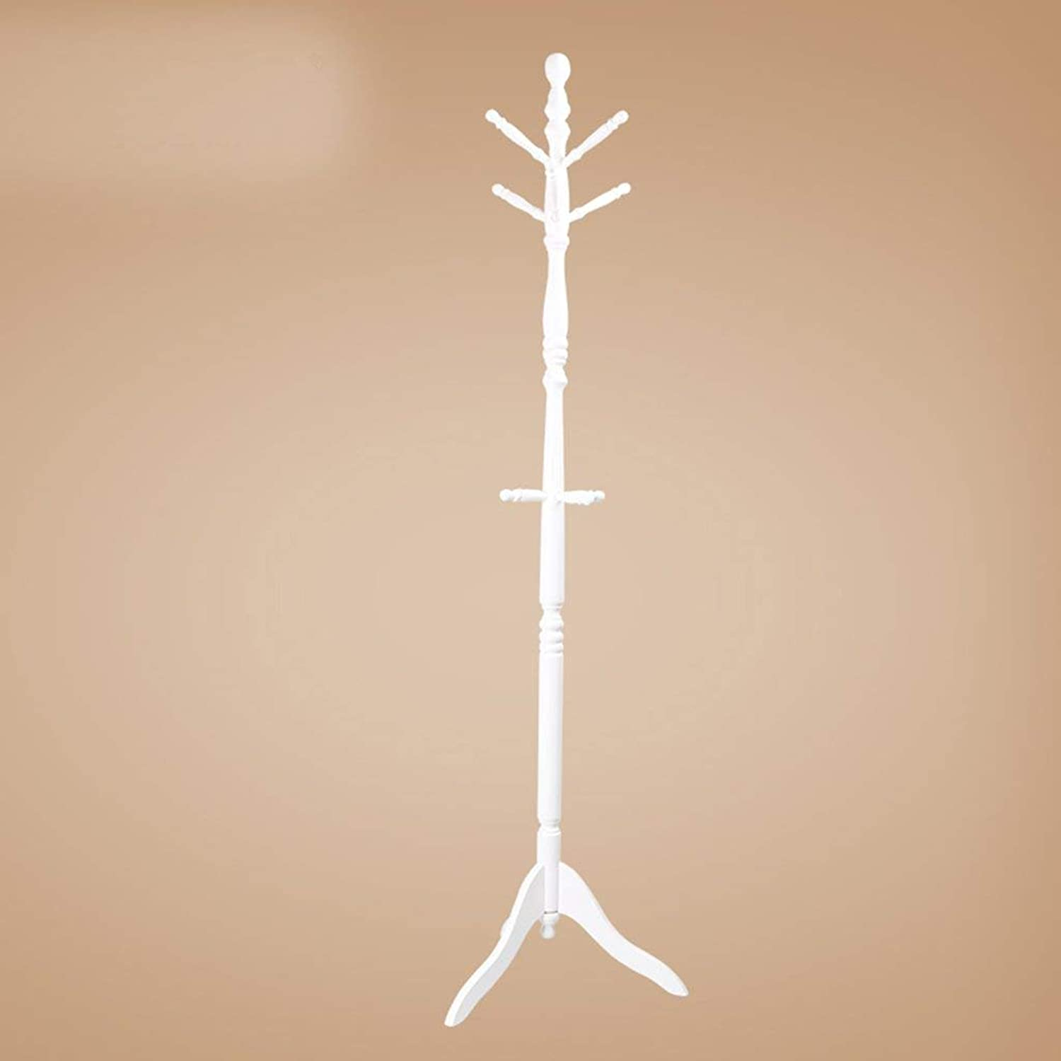 Barture Coat Rack Durable Solid Wood Simple Versatile Easy to Move Safe Multi-Hook Tree Stand Entrance Hall (color   White)