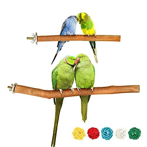 2 Stück Natur Sitzstangen für Vögel, Vogel Spielzeug Vogelschleifklauen Klettern Stehend Vogelkäfig Zubehör Vogelzubehör für Papageien Wellensittich Nymphensittich Kanarienvogel Agaporniden