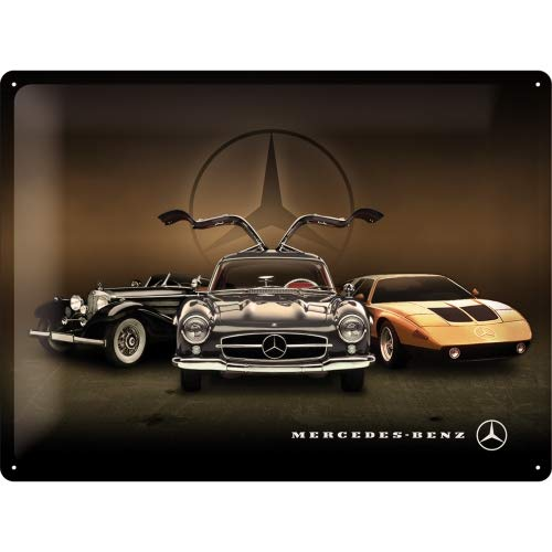 Nostalgic-Art Retro Blechschild - Mercedes-Benz - 3 Cars, Vintage Geschenk-Idee für Mercedes Accessoires Fans, zur Dekoration, 30 x 40 cm