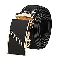 uxcell ベルト メンズ 自動バックル ラチェット ビジネス 紳士 レザー 幅 3.5cm 121-156cm ゴールド コード 150cm