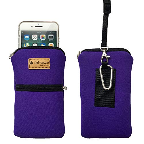 Tainada Men Women Phone Neoprene Shockproof Zippered Sleeve Case Bag Pouch with Carabiner, Neck Lanyard, Belt Loop Holster for iPhone 11/12 Pro Max, XR, Samsung S21+, S20 FE, S21, Note 20 (Purple)