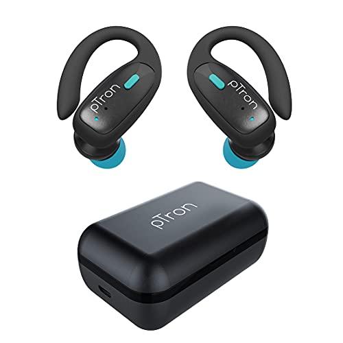 pTron Bassbuds Sports True Wireless Bluetooth 5.1 Headphones with Deep Bass, 32Hrs Total Playtime, Ergonomic Hook Design & IPX4 Water/Sweat Resistant Earphones with Built-in HD Mic (Black & Blue)