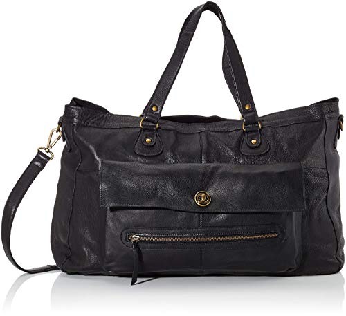 PIECES TOTALLY ROYAL LEATHER TRAVEL BAG NOOS 17055349 Damen Umhängetaschen, 1 Groesse (one size), Schwarz (Black)