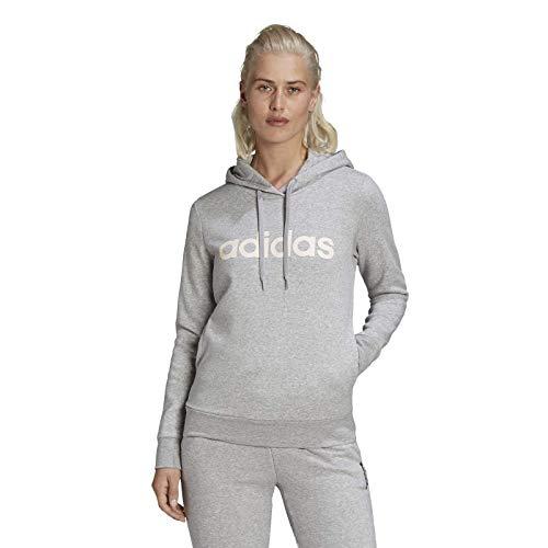adidas GL0639 W Lin FT HD Felpa con Cappuccio Donna Dark Grey Heather/Clear Pink S