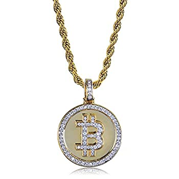 """TOPGRILLZ Hip Hop Fully Iced out CZ Cluster Simulated Diamond 14K Gold Plated Bitcoin Cryptocurrency Pendant Necklace with 24"""" Stainless Chain  Zircon BTC"""