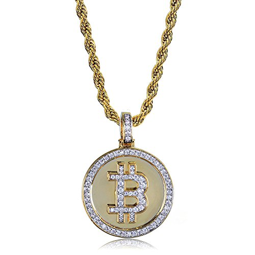 """TOPGRILLZ Hip Hop Fully Iced Out CZ Cluster Simulated Diamond 14K Gold Plated Bitcoin Cryptocurrency Pendant Necklace with 24"""" Stainless Chain (Zircon BTC)"""