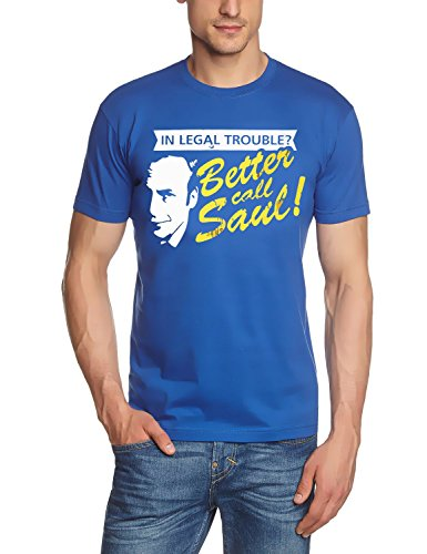 Coole-Fun-T-Shirts Uni Legal Troube Better Call Saul Heisenberg T-Shirt, Blau, L