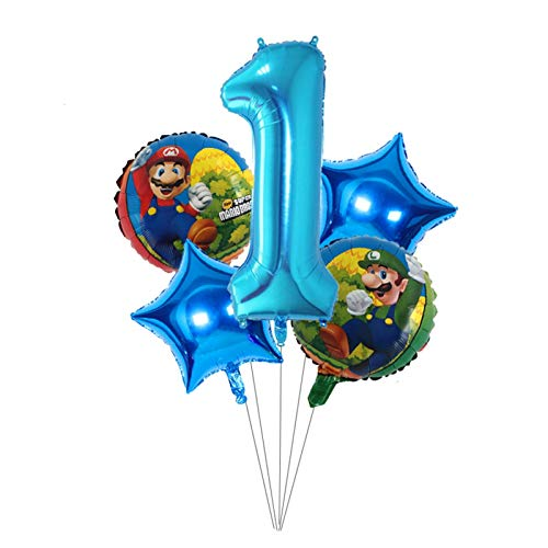 YSJSPOL Balloon 5pcs 18inch Mario Foil Balloon 40inch Number Balloon Set Baby Shower Kids Birthday Party Decoration Supplies Party (Color : 1)