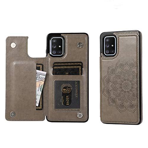 Funda para Samsung Galaxy A51, [cierre magnético] [función atril] Funda de piel sintética para Galaxy A51 (gris)