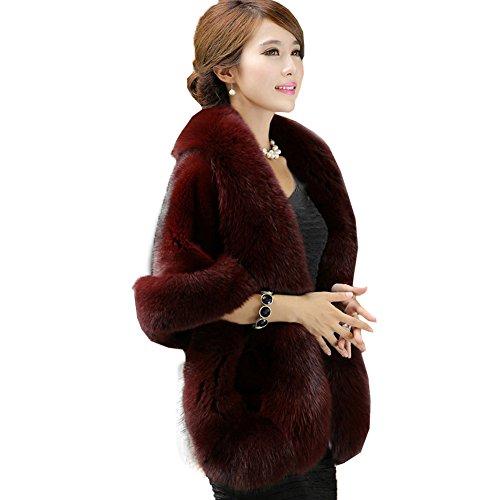 Caracilia Women's Faux Fur Coat Wedding Cloak Cape Shawl for Evening Party CA-5 jiuhong