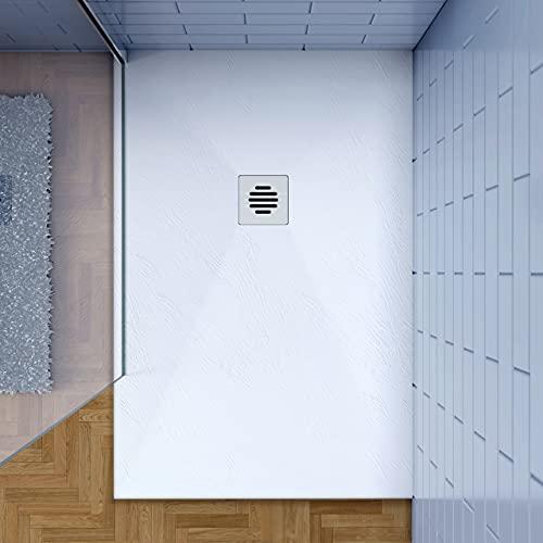 Piatto Doccia Bianco 80x100cm di Spessore da 3 cm in Pietra Artificiale e Mesina Mista Effetto Ardesia Ruvido Piletta e Tubo inclusi
