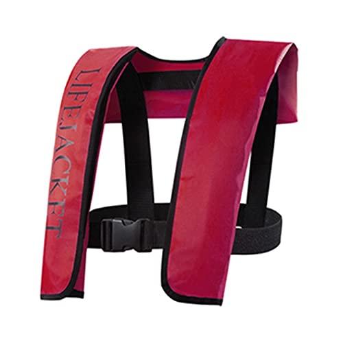 LVLUOKJ Profesional- Inflable Manual/Automático Chaleco Salvavidas, Chaleco Seguro de la flotación de los Deportes acuáticos del Kayak, Carga máxima 150 kg (Color : Deep Red, Size : Manual Inflation)
