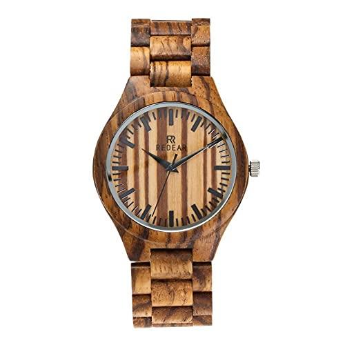 STST Relojes de Madera para Hombre, Movimiento analógico de Cuarzo japonés, Reloj de Madera Hecho a Mano Natural,B
