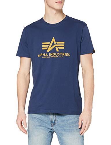 ALPHA INDUSTRIES Herren Basic T-Shirt, Blau, XXL