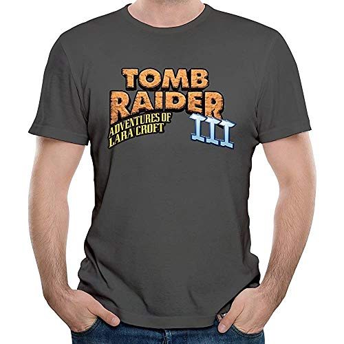 Tomb Raider III Adventures of Lara Croft Men T-Shirt Graphic Top tee Camiseta Short-Sleeve Dark Grey S