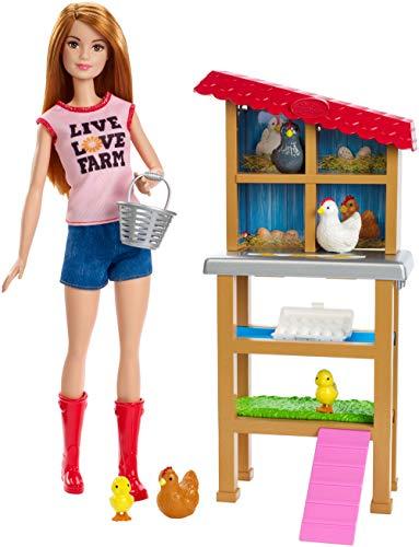 Barbie Quiero Ser Granjera de Gallinas y Pollitos, Muñeca con Animales y Accesorio (Mattel FXP15) , color/modelo surtido