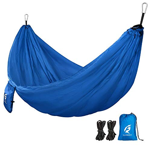 QF Single Camping Hammock with 10FT Tree Straps, Lightweight Parachute Portable Hammocks for Hiking, Travel, Backpacking, Beach, Backyard, Outdoor, Indoor - 210T Nylon - MAX Support 400lbs (Blue)