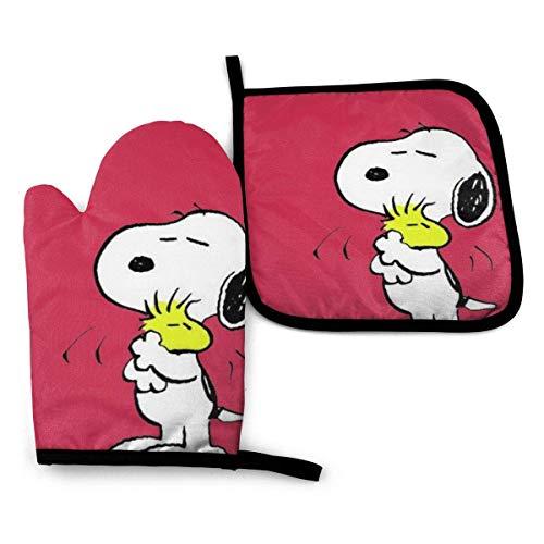 Asa Dutt528251 Guanti da Forno e presine - Snoopy with Friends Guanti da Forno Resistenti al Calore da Cucina e Set di presine