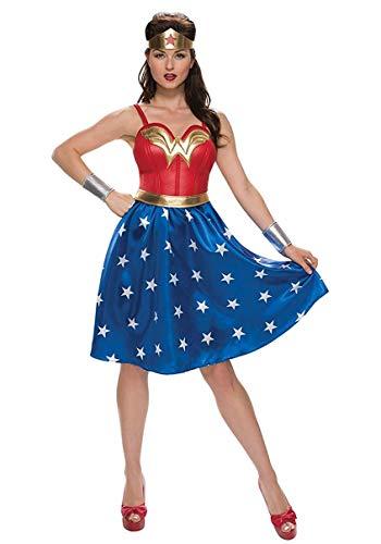Deluxe Womens Plus Size Long Dress Wonder Woman Costume 3X Blue