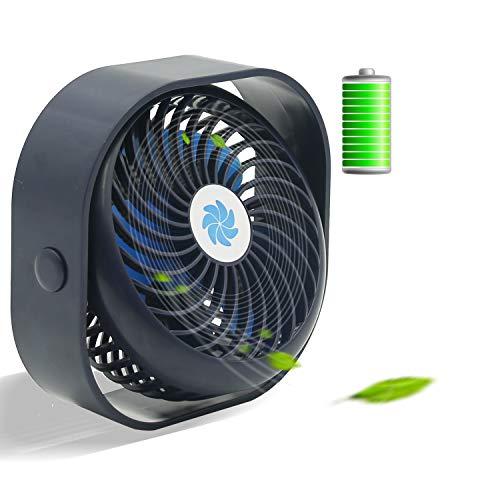 Ventilador de Escritorio, Mini Ventilador de Enfriamiento Portátil con 3 Velocidades, Ventilador Recargable Potente y Súper Silencioso, Ideal para Oficina, Hogar (Azul)