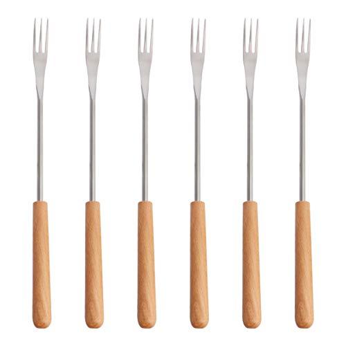 YARNOW 6 Stück Käsefondue-Gabeln Grillspießgabeln mit Hitzebeständigem Holzgriff für Schokoladenkäse-Fondue-Marshmallows-Braten