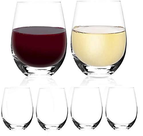 Design•Master - Copas de vino clásicas sin tallo, sin plomo, ideales para vino tinto y blanco, cóctel, zumo, agua, cristalería de cocina, playa, boda y regalos de fiesta, 18 onzas, juego de 6