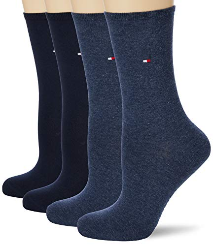 Tommy Hilfiger Womens Women's Multipack 4 Pack Casual Sock, Dark Navy/Jeans, 39/42