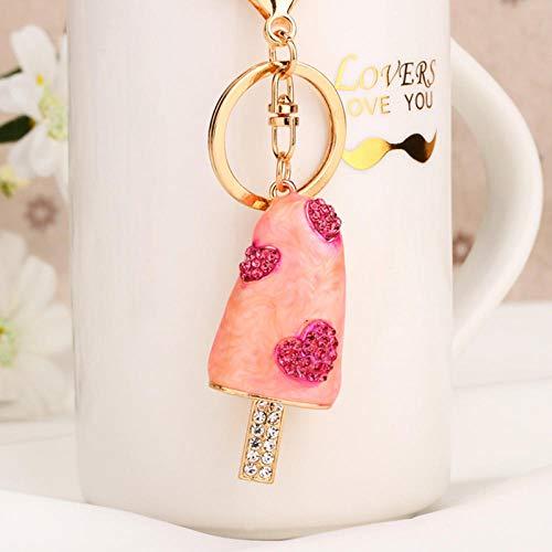 Sinzong sleutelringen voor meisjes strass liefde ijs op steel auto sleutelhanger vrouwelijk schattige tas hanger sleutelhanger ring klein 2 stuks roze