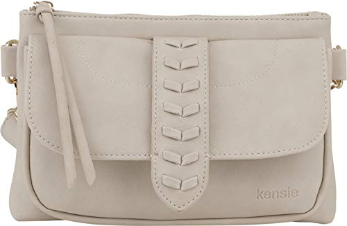 Kensie Women's Whipstitch Belt Bag - Fashion Waist Bag with Adjustable Strap - Crossbody Sling Purse Fanny Pack - Clay