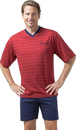 hajo Herren Schlafanzug kurz - Klima Light - mit V-Ausschnitt, rot (300), 62 (5XL)