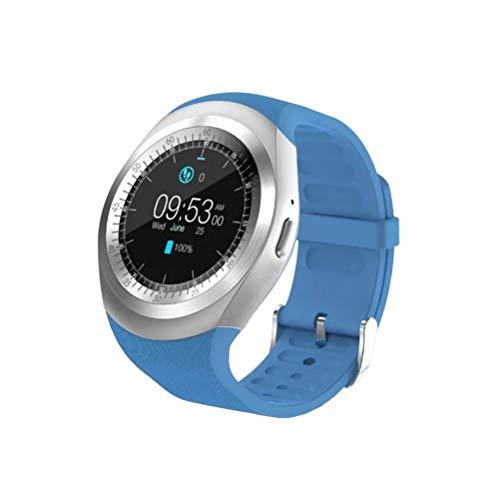 NICERIO Smartwatch,Y1 Bluetooth Touchscreen Smart Watch mit Micro SIM TF Slot Tragbare Geräte für iOS Android Smartphone (blau)