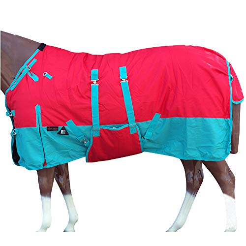 HILASON 78 in 1200D Winter Waterproof Horse Blanket Belly Wrap Red