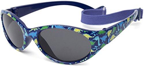 Kiddus Gafas de sol para niña niño entre 2 y 6 años, hecho de goma TOTALMENTE FLEXIBLES, 100% protección rayos UVA y UVB, seguras, confortables y muy resistentes, ideal regalo, (11 Dinos azul)