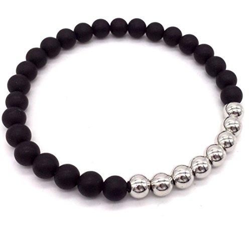 Lion & Son Pisa Armband - Herren-Kette Achat Lava Damen-Perlen-Band Schwarz Edel-Stein Mode-Schmuck Buddha Yoga, Farbe:Silver