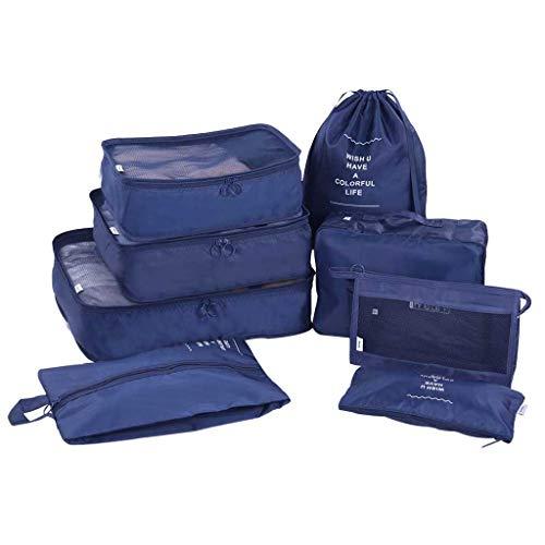 FiedFikt - Set di 8 sacchetti da viaggio per bagagli, impermeabili, ideali per riporre i vestiti, da viaggio, per riporre i vestiti