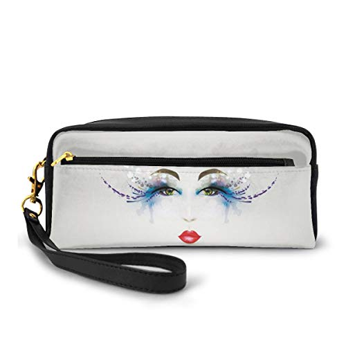Pencil Case Pen Bag Pouch Stationary,Young Woman Face with Fantastic Makeup Dreamy Eyes and Red Lipstick Glamor Beauty,Small Makeup Bag Coin Purse